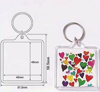 50 Blank Clear Acrylic Keyring 45x45mm Insert DIY Craft Wholesale Keychain 94312