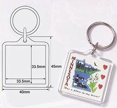 50 Blank Clear Acrylic Keyring 34x34mm Insert DIY Craft Wholesale Keychain 9012