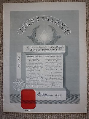 Original Royal Arch Masons of Victoria admittance Certificate 1965
