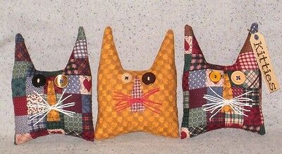 3 PRIM Fabric KITTIES Cat Bowl Fillers~Button Eyes~Hemp Cord Whiskers~Patchwork