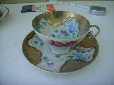 Vintage Decorated Painted Inner Outer Cup Saucer Set Pink Blue Daisy Floral