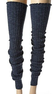 "THIGH HIGH Long LEG WARMERS Over Knee DENIM BLUE Thick Warm Cable Knit 39"" Sock"