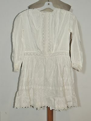 Antique Older Girl's Pollyanna Style White Cotton Embroidered Dress