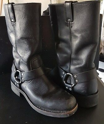 Black Leather Harley Davidson Motorcycle Riding Boots SIZE 9 Biker Boots used