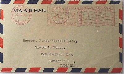 Barbados 1951 Airmail Cover With 4 Meter Mark Values + Geddes Grant Label