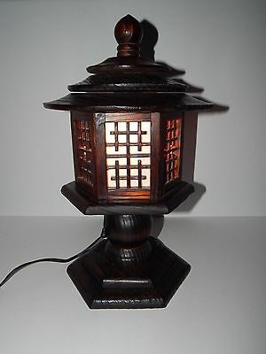 "Carved Wooden Pagoda House Asian Oriential Korean Table Desk Lamp Light 16"" Tall"