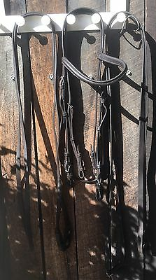 Hubertus Brown Double Bridle Full Weymouth Horse Dressage