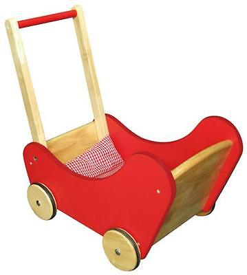 NEW Viga Toys Traditional RED Wooden Dolls Buggy Pram Stroller