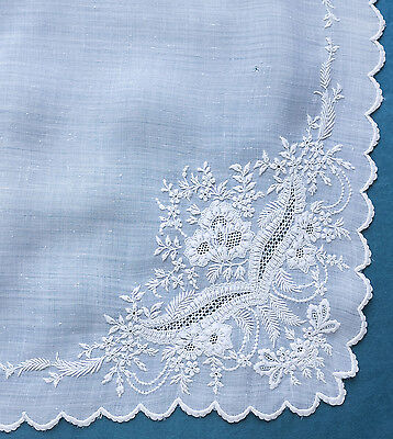 Antique  19th c  finely embroidered wedding handkerchief