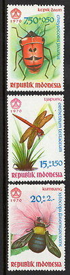 Stamps Indonesia 1970 Insects lightly hinged