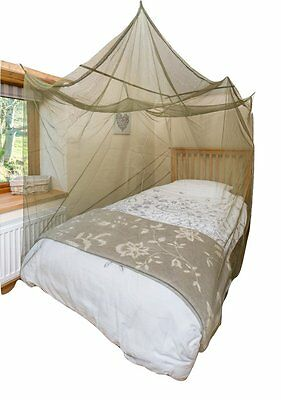 Single Box Shape Dark Green Mosquito Net with Hooks, Expansion Cords and (a0T)