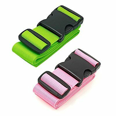 BlueCosto Luggage Belt Travel Strap Suitcase Accessories, 2-Pack, Pink, Green