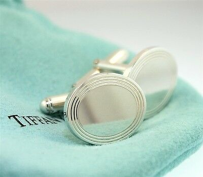 Authentic Tiffany & Co. Engline-Turned Cuff Links in Sterling Silver