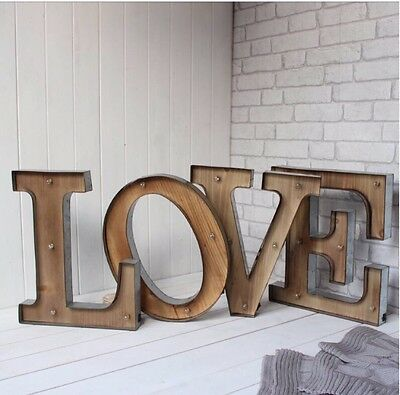 LED Wooden Rustic Light Up Letters LOVE Wall Mounted Or Freestanding Wedding