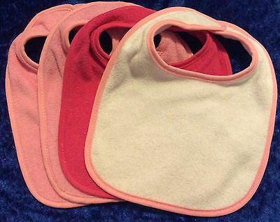 4 Cute Pink Baby Bibs - BRAND NEW - Personalised Embroidery Option