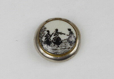 Vintage miniature powder-box with Victorian motif on glass.