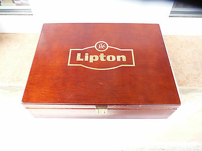 Lipton wooden tea box LL 275mm The cover is slightly torn off Used rare