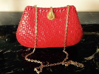 Vintage Rodo Italian Red wicker handbag with Gold Chain and leather lining