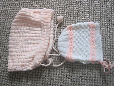 Baby Hats 1970's One Pink One Pink & White Vintage