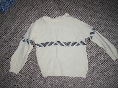 Jumper Keynote Vintage Childs  Cream With Black Pattern 9-18 Months Acrylic