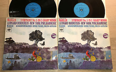 MAHLER Symphony No.5 BERNSTEIN 1960s UK ED1 STEREO COLUMBIA 2LP MINT
