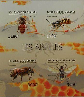 Bees  bee insects Burundi 2012 m/s Sc. 1204 MNH #BUR12620a IMPERF