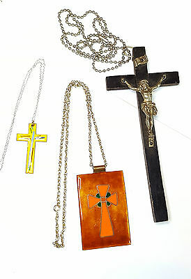 2 Arts And Crafts Enamel Religious Pendant & Large Crucifix And Chain
