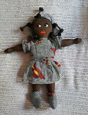 Vintage African Rag Doll - 18 Inches Tall. Embroidered Facial Features