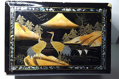 VINTAGE CHINESE LACQUERED BIRD/SCENIC DESIGN MUSICAL BOX - 6 x 8.5 x 2.5 INCHES
