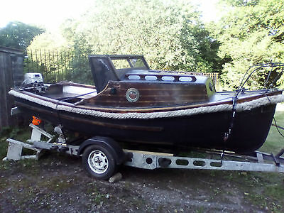 16ft fishing day boat with trailer and 15HP honda outboard engine