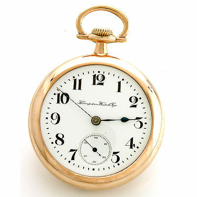 18 Size 23 Jewel Hampden New Railway Railroad Pocket Watch Ca1912