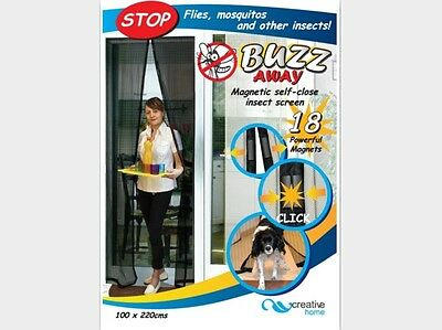 Buzz Away Magnetic Self-Close Insect Door Screen 102x220cm Free Delivery