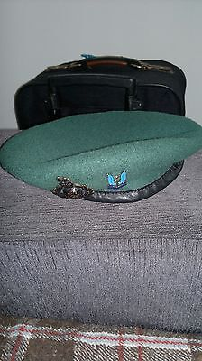 RAF Beret, Royal Air Force, Military, Leather, Silk Lined, Small Crown, Wool