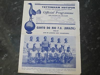 Tottenham Hotspur v Canto Do Rio F.C (Brazil) Friendly Fixture - 1957/58