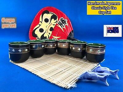 NEW Handmade Japanese Classic Style Clay Pottery Tea Cup Set 6 cups/set (B70)