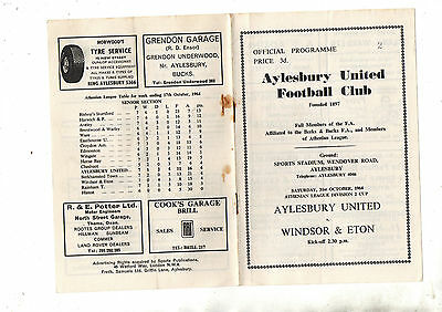 Athenian League Cup:-AYLESBURY UNITED v WINDSOR & ETON 1964/5