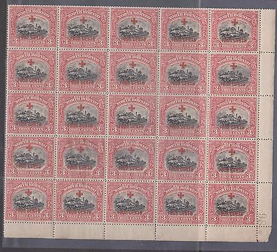 NORTH BORNEO 1918  LOT C ..BLOCK OF 25.. Red Cross... 4 CENTS   on 3c..MNH..OG