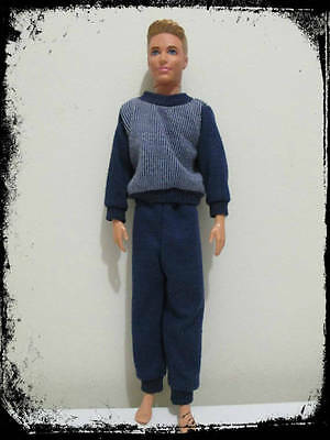 ken doll clothing blue pyjama 2 piece top and bottom beverly hills 90210 brandon