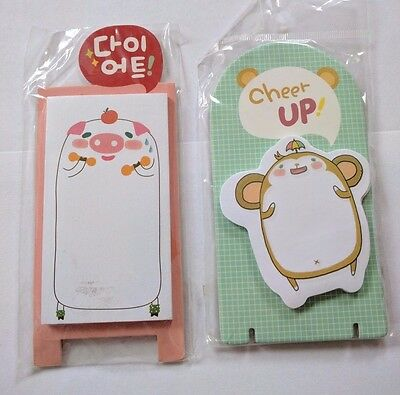 Set of 2 Korean post-it sticky memo notes, pig and monkey animals kawaii cute