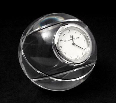 Exquisite Quality Royal Doulton Solid Crystal Globular Globe Desk Clock