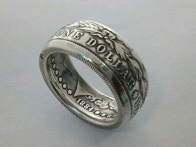 Morgan Silver Dollar Coin Ring 1884 Size `Z+2` 20.87g   11mm Wide