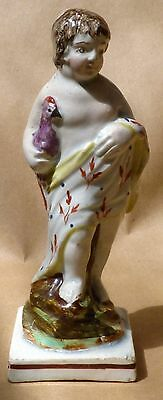 Early 19th Century Staffordshire Figure Classical Boy and Pheasant circa 1810