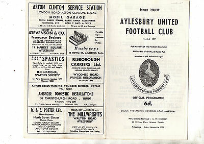 FA Cup:- AYLESBURY UNITED  v WEMBLEY 1968/9