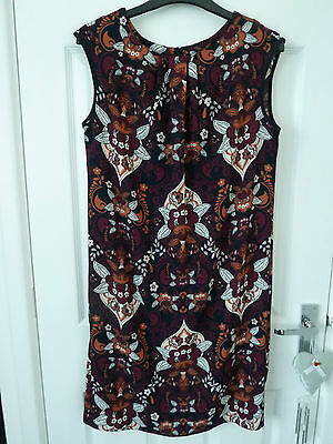 """Ladies Size 10 sleeveless dress in purples, maroons, white by """"TU""""."""
