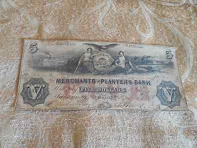 Georgia Obsolete Currency 1859 The Merchants And Planters Bank Five Dollars