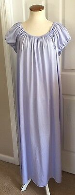 Vintage Shadowline Women's Nightgown Short Sleeve Full Length Size L Purple Blue