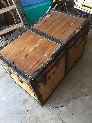 Antique Flat Top Steamer Wood Trunk Use For Storage, Table