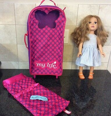My Life 18 inch DOLL rolling carrier and sleeping bag with pillow and a eye mask