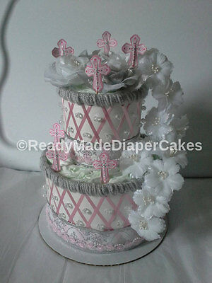 Pink and Silver Baptism Themed Baby Girl Shower Decor 2 Tier Diaper Cake Gift