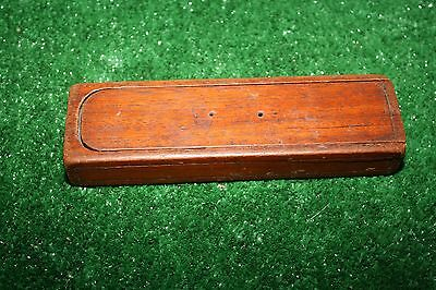 Antique carved wood wooden pen pencil school box slide top